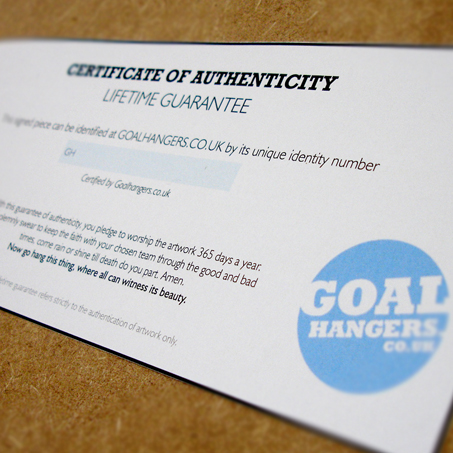 A Goalhangers.co.uk authentication certificate will be signed and dated on the reverse of the frame. And includes FREE delivery within mainland UK.