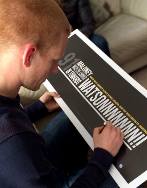 Ben Watson signing one our prints for a happy customer (please be aware this print is unsigned).