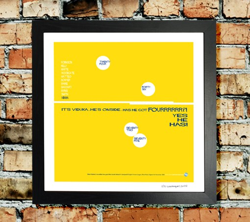 WOW! A stunning limited edition piece of art, depicting the sensational four goals from Mark Viduka.