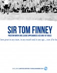 Close-up details of the Sir Tom Finney typography and illustration.