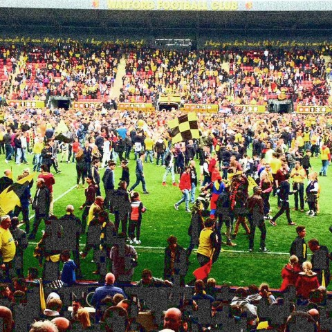 Watford fans on the pitch after winning promotion