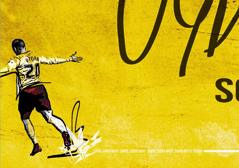 Matej Vydra close up of football print