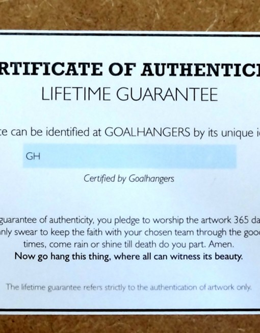 Authenticity certificate for goalhangers.co.uk prints